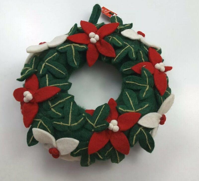 Fair Trade Felted Wool Poinsettia Christmas Wreath