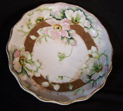 LARGE Antique NIPPON Footed Bowl HP Floral Flowers w Gold Encrusted Accents 10""