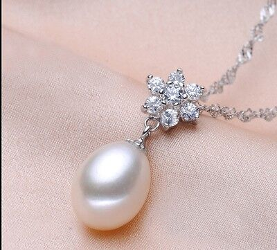Sterling silver Genuine Freshwater White Pearl(10x12mm) luxury Necklace lovegift