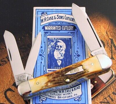 Case Classic Stag 3 Backspring Whittler Knife 1994 Era With Letter Serial #00 NR