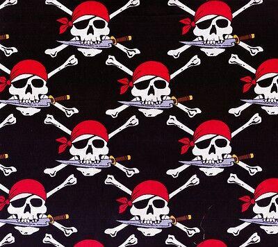 Halloween Pirate Skulls crossbones Fabric FQ Fat Quarter
