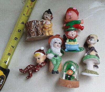 Lot (7) Elf Pixie Leprechaun Figurines and Small Ceramic Log Planter