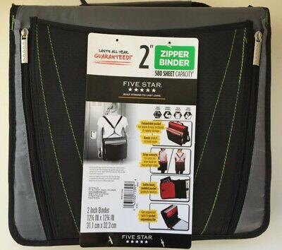 Mead Five Star 2 In Zipper Binder 580 Sheet Convert Strap Gray Black Green New