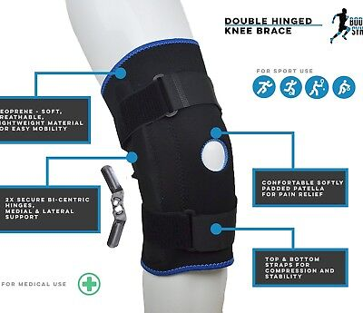 Hinged Knee Arthritis Support Brace Guard Stabilizer Strap Wrap Support