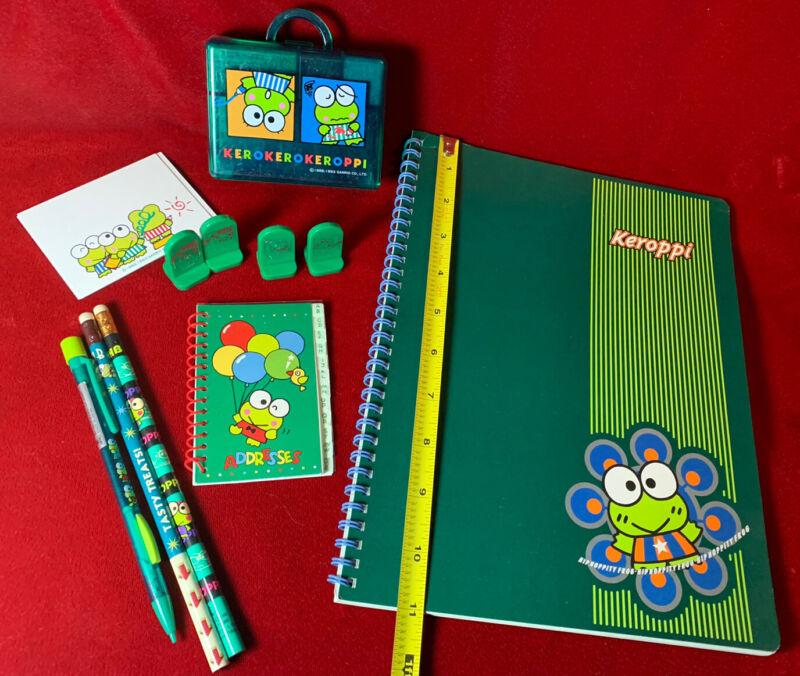 Vintage 1991 Keroppi Ink Stamp Address Book Sanrio Frog Pencils Notebook 90s Lot