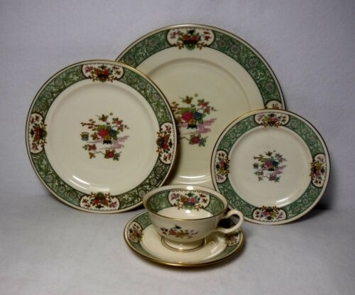 LENOX china PEKING pattern 5-piece Place Setting - cup saucer dinner salad bread