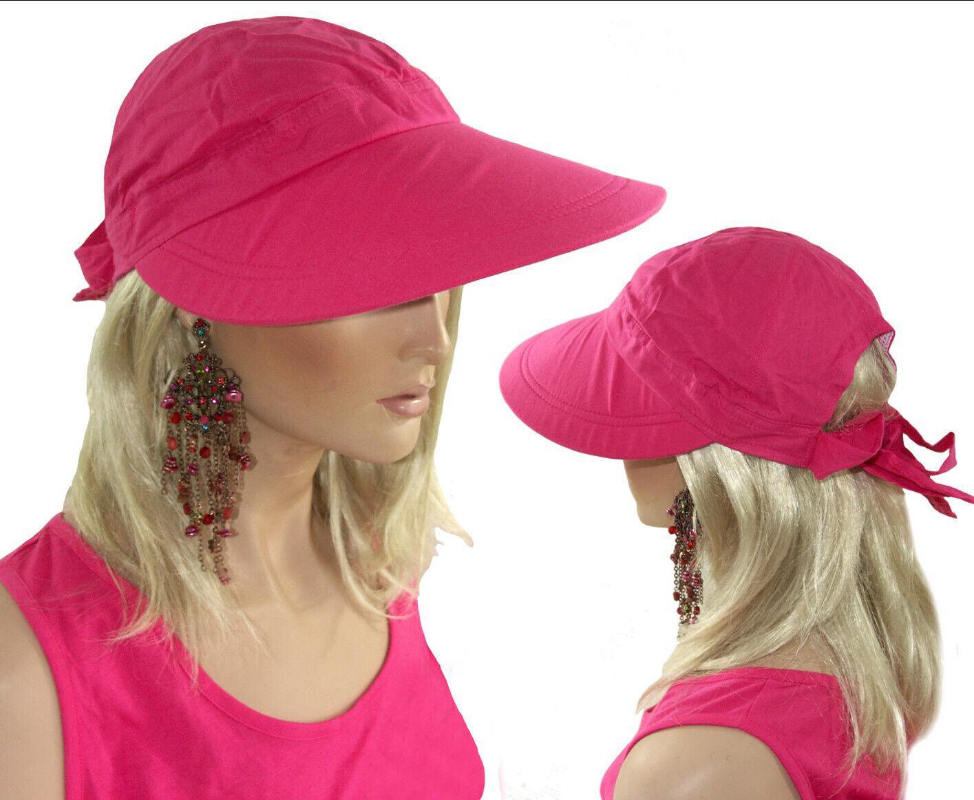 DAMEN VISOR CAP Schirmmütze Sonnenvisor breite Krempe Schleife UV Schutz PINK