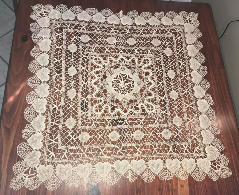 "Hand-Knitted Doily- DelicateThread- Hearts- Ecru - 32-1/2"" x 32-1/2"" Table Cover"