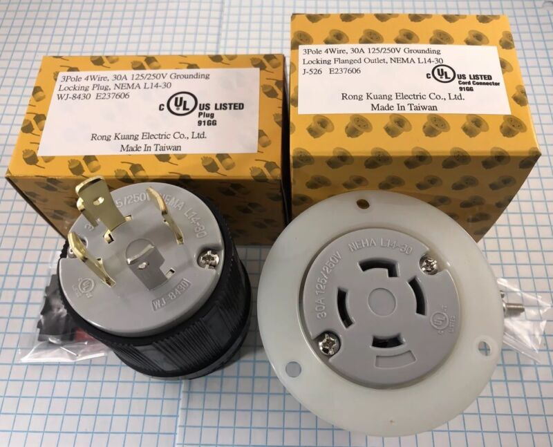 NEMA L14-30, 3 POLE, 4 WIRE, 30A 125/250V Grounding Locking PLUG ,FLANGED OUTLET