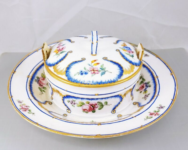 Antique SEVRES Marked Porcelain Bowl Covered Lidded Flowers Gold Cream Soup Dish