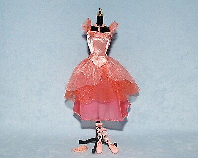 PRETTY Pastel Pink w/ Glitter Genuine BARBIE Ballerina Dress w/ Shoes Jewelry