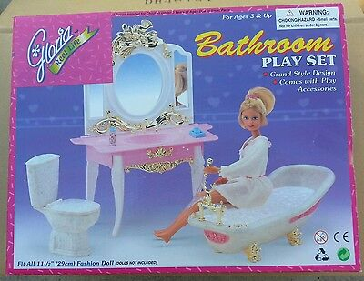 GLORIA FURNITURE DELUXE BATHROOM W/ TUB & Mirror PLAYSET DOLLHOUSE For Barbie