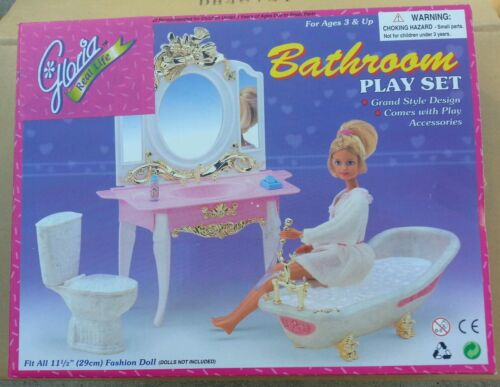 GLORIA FURNITURE DELUXE BATHROOM W/ TUB & Mirror PLAYSET DOLLHOUSE For Barbie