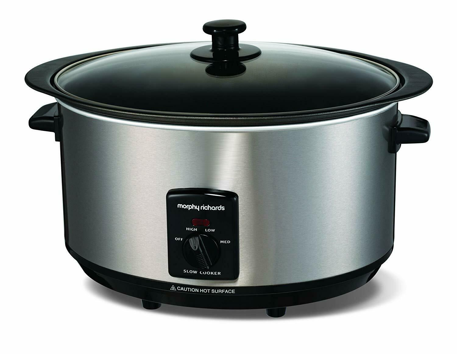 Morphy Richards 6.5 Litre Sear and Stew Oval Large Brushed Steel Slow Cooker