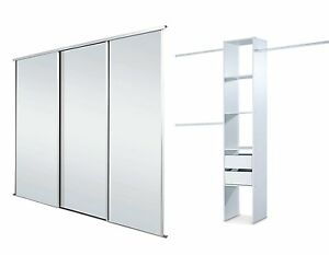 Details About Sliding Wardrobe Doors Mirrored X 3 Storage Up To