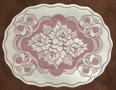 2 Lace Place Mats Ivory and Mauve Victorian Rose 14
