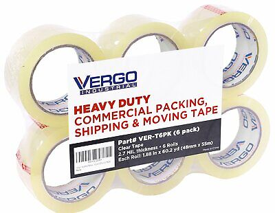 Vergo Industrial Heavy Duty Clear Packing Tape 2.7mil for Packaging 6 Pack