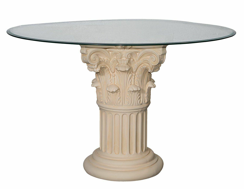 Esstisch Esszimmer Küchen Glas Runder Tisch Tafeltisch Römertisch Säulentisch