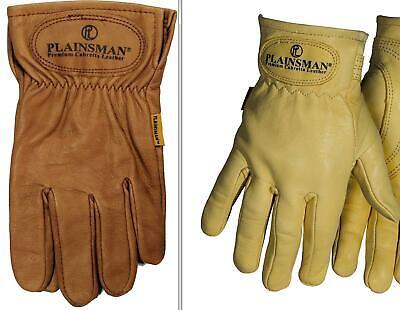 Plainsman Premium Cabretta Leather Work Gloves 1 Pair Brown Or Gold