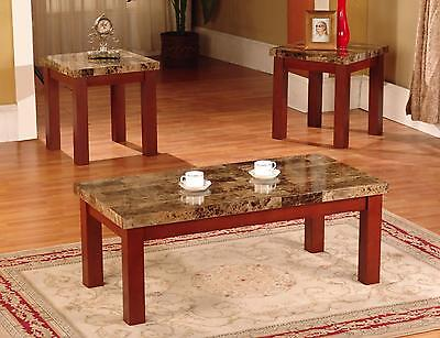 New Faux Marble 3 Piece Coffee and End Table Set Tables, in Black/Cherry Finish (3 Piece Cherry Wood)
