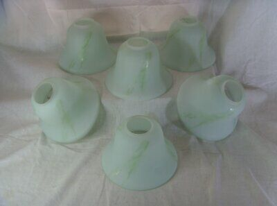 Vintage Retro Green Marbled Opaline Glass Round Bell Shape Lamp Shades