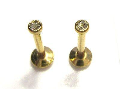Gold Titanium Clear Flat Crystal Cz Snake Spider Angel Bites Studs 16 Gauge 16G