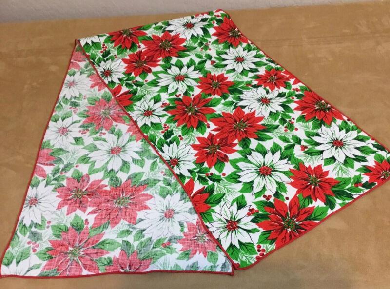 Vintage Christmas Table Runner, Cotton, Printed Poinsettia Flower Design, Leaves