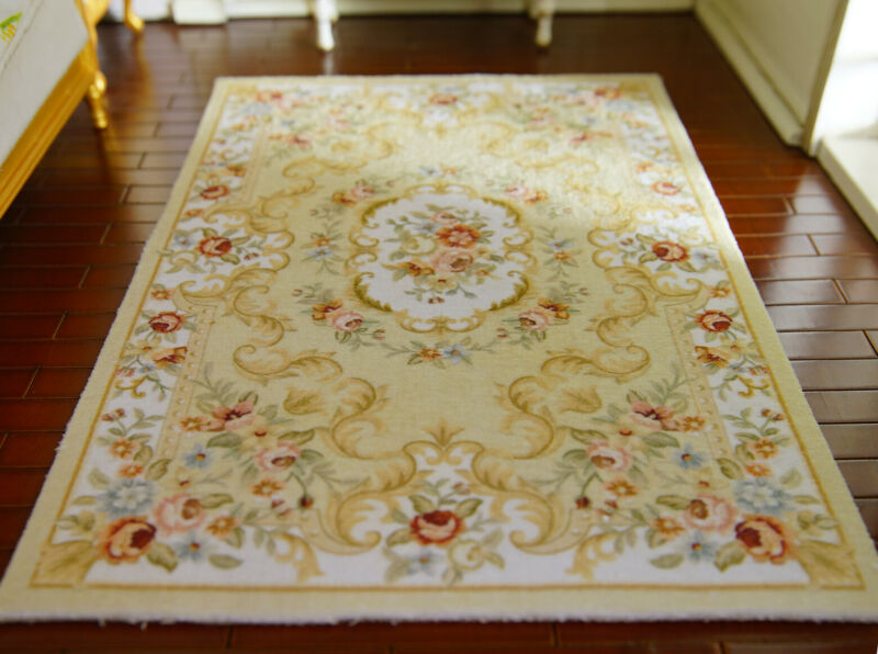 "8"" Larger 1/12 Dollhouse Nice Rug Wonderful Victorian Roses French Floral Swirls"
