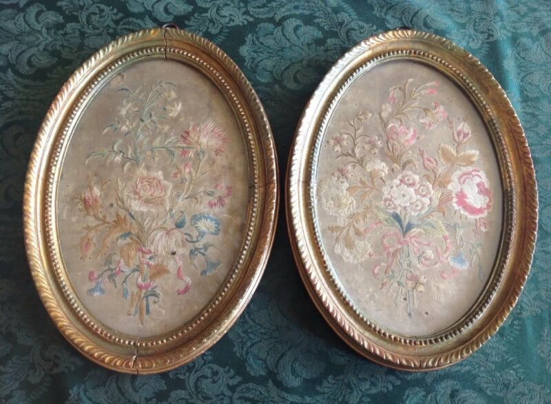 Pair Antique 19th Cent French Flower Floral Silk Embroidery Needlpoints Framed