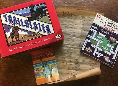 Trailblazer: An Adventure in American Trivia, US History puzzles, & pocket atlas