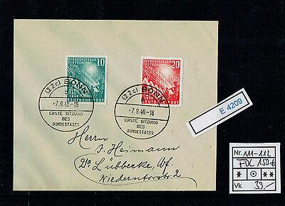 (E4209) Bund Nr.111-112 FDC auf Brief Kat.150.-€ Ersttag