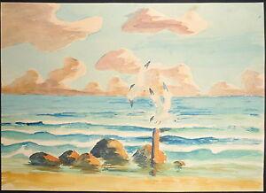 1950 paesaggio marino con gabbiani disegno acquerello