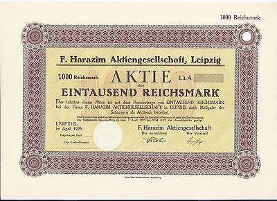 Papierhandel  F. Harazim AG Leipzig 1000 RM April 1925,  RB nur 5 Stück RAR