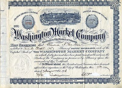 1910s Washington Market Company cancelled $50/share certificate, BEAUTIFUL SEAL