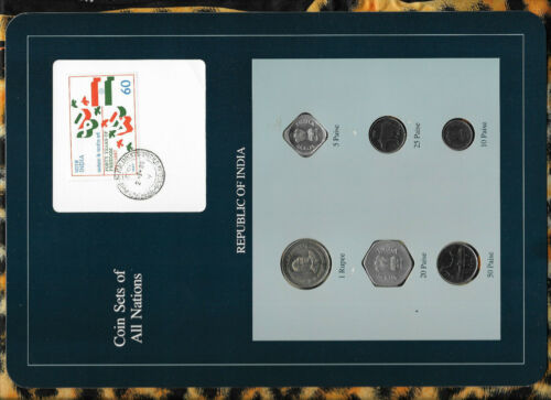 Coin Sets of All Nations India 1988-1990 UNC 1 Rupee 50,25,10,5 Paise 1990