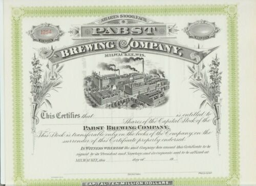 Pabst Brewing Company Stock Certificate Milwaukee Wisconsin Blue Ribbon PBR