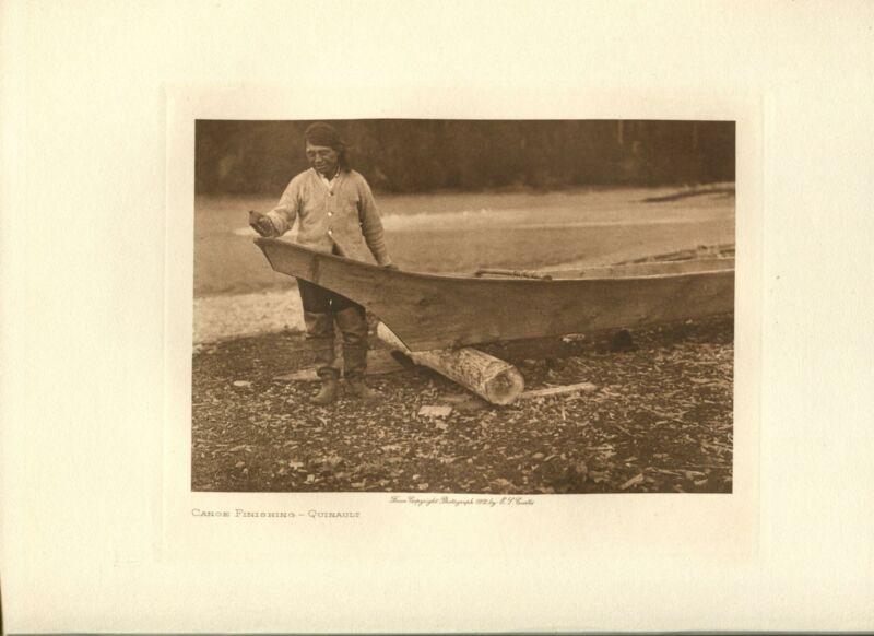 1912 Original Photogravure | Edward Curtis | Canoe Finishing Quinault