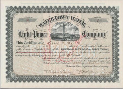 Watertown Water Light & Power Company Stock Certificate South Dakota