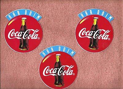 COKE COCA COLA DECAL STICKERS LOT (3) SODA POP