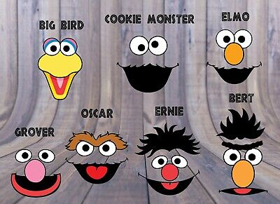 SESAME STREET 7 character face jpegs , Birthday Party Decorations, Elmo,Cookie