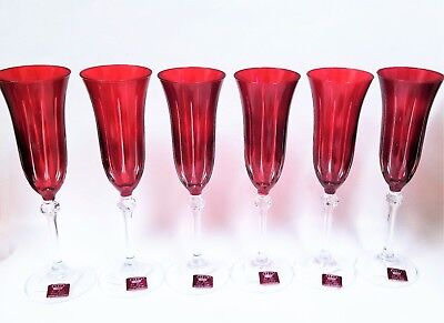 LA REINE SET OF 6 RUBY RED+CLEAR STRIPES CHAMPAGNE FLUTE GLASS CRYSTAL-ITALY