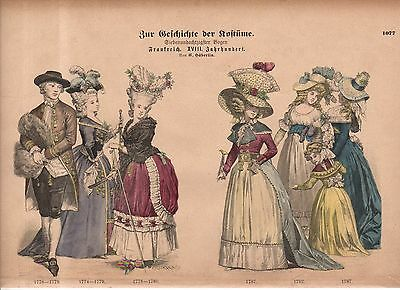 1880 Chromo Fashion print of late 1700's French visitation toilettes men, women.