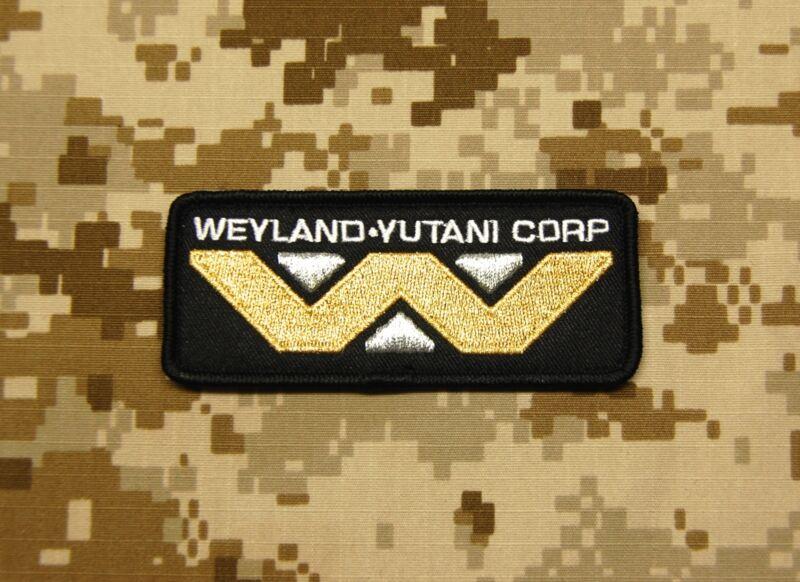 Aliens WEYLAND YUTANI Corporation Embroider Morale Patch Hook Fastener Backing
