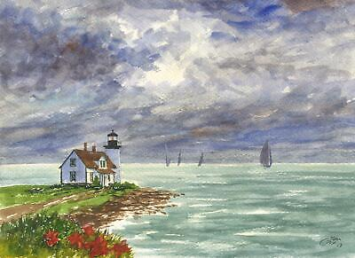 MAINE PROSPECT HARBOR LIGHTHOUSE ACADIA NATIONAL FOREST PARK NAUTICAL PAINTING