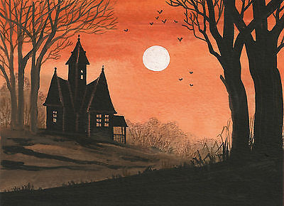 ACEO PRINT OF PAINTING HALLOWEEN FOLK ART RYTA HAUNTED HOUSE SPOOKY BATS COTTAGE