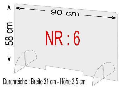 Spuckschutz Nr.6 - Schutzscheibe Breite 90cm,Höhe 58cm, Durchreiche 31x 5cm