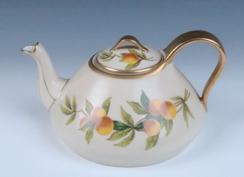 🟠 T&V Limoges FLORIDA Teapot Antique French Porcelain Orange Gold Tea Pot Deco