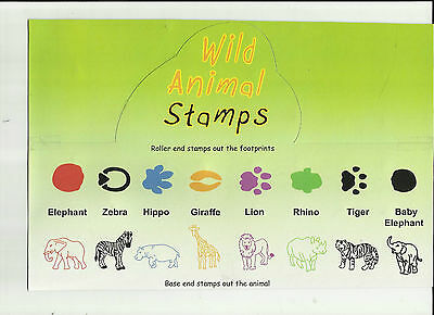WILD ANIMAL STAMPS Animals & Footprints SET of 8 Different ELEPHANT,LION,TIGER.. ()