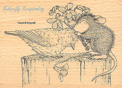 HOUSE MOUSE Bird Birdie Kiss Wood Mounted Rubber Stamp STAMPENDOUS HMR18 NEW