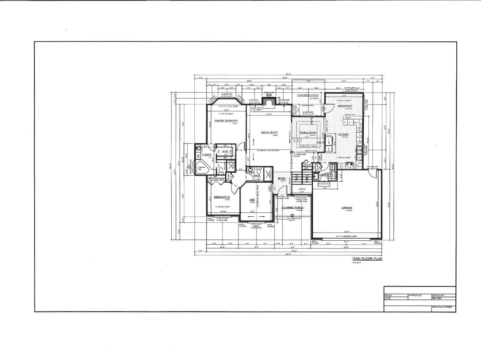 Full set of single story 3 bedroom house plans 2 145 sq ft for House plan set